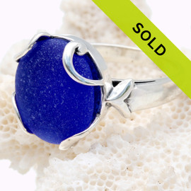 Perfect Cobalt Blue Domed Sea Glass Piece Sterling Ring - Size 7