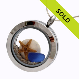 Blues Sea Glass Locket With Sandollar, Starfish On A Sterling Necklace Chain