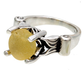 Beautiful sunny yellow sea glass UNALTERED from the way it was found on the beach. Set in this high profile solid sterling ring, bound to get you compliments! This is the EXACT ring you will receive!