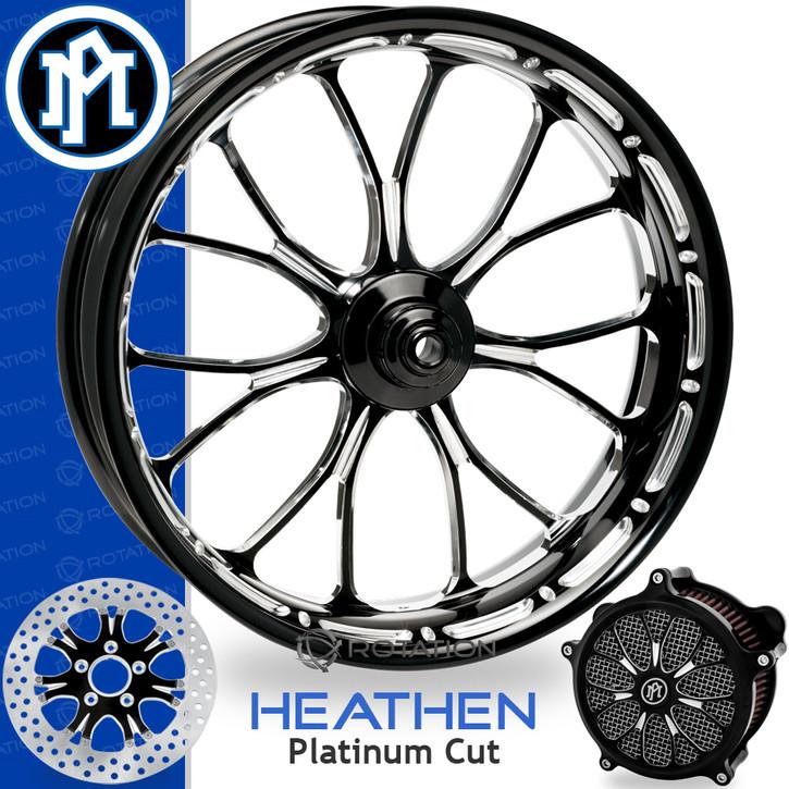 Performance Machine Heathen Platinum Cut Custom Motorcycle Wheel