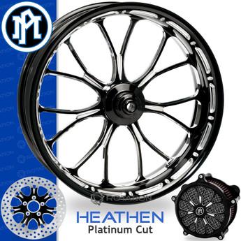 Performance Machine Heathen Platinum Cut Custom Motorcycle Wheel