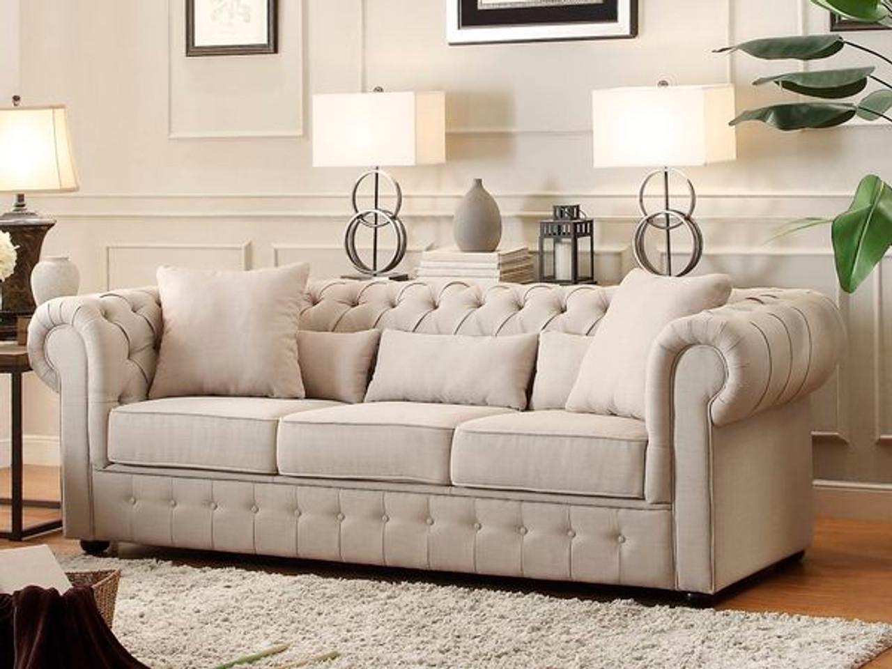 Homelegance Grand Chesterfield Sofa Upholstered Button