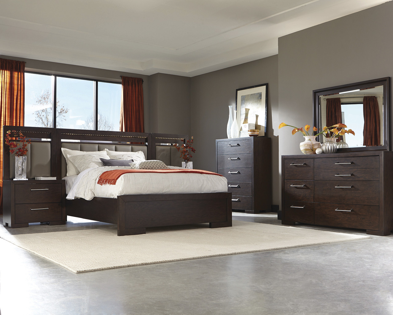 Coaster Berkshire Collection 7-Piece Panel Bedroom Set in Bitter ...
