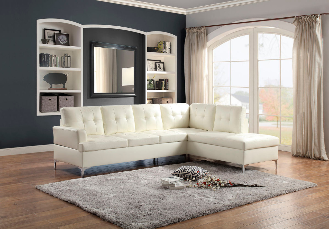 Homelegance Barrington Bi Cast Sectional Sofa In White