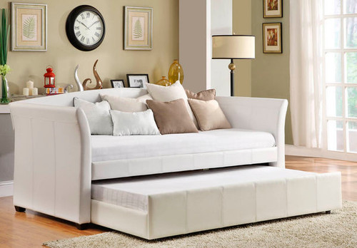 Homelegance Milan White Leather Modern Twin Daybed With Roll-out Trundle