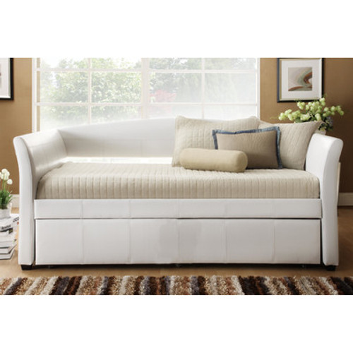 Homelegance Milan White Leather Modern Twin Daybed With