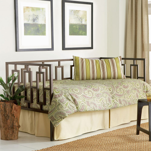 Fashion Bed Group Miami Metal Daybed In Coffee With Link