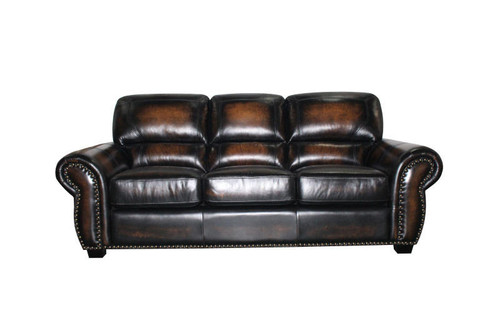 J. Graham Parker Genuine Top Grain Leather Charleston Sofa in Decatur Sienna