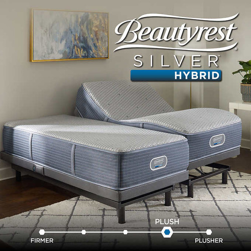 simmons beautyrest silver hybrid harrison shores plush mattress with smartmotion 10 adjustable bed base