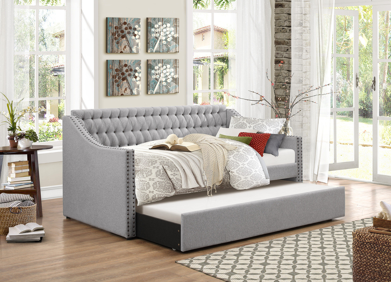 homelegance torrence sleigh tufted daybed with trundle in grey. Black Bedroom Furniture Sets. Home Design Ideas