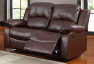 Homelegance Cranley Double Reclining Brown Leather Love Seat open