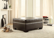 Homelegance Mendota Lift Top Storage Cocktail Ottoman in Brown Vinyl