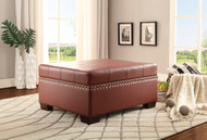 Homelegance Mendota Lift Top Storage Cocktail Ottoman in Burgandy Vinyl