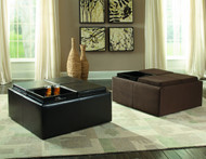 Homelegance Kaitlyn Four-Tray Storage Cocktail Ottoman in Brown Vinyl