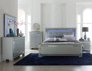 Homelegance Allura 4-Piece Bedroom Set Featuring Touch-Engaged LED-Lit Headboard, Nightstand, and Mirror