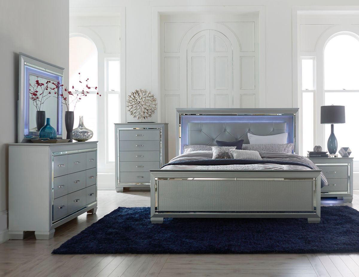 Homelegance Allura Modern Bed Silver with Touch-Engaged ...