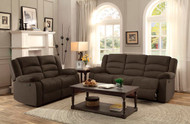 Homelegance Greenville Double Reclining Chocolate Velvet Sofa and Loveseat Set