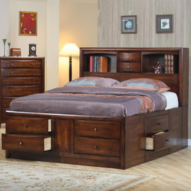 Hillary and Scottsdale Contemporary Bookcase Bed with Underbed Storage Drawers Image 1