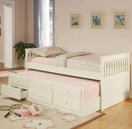 Coaster La Salle Twin Captain's Bed with Trundle and Storage in White Image 1