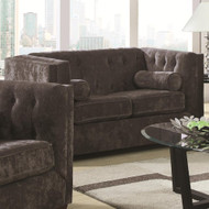 Coaster Alexis Button Tufted Chesterfield Loveseat in Charcoal