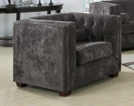Coaster Alexis Button Tufted Chesterfield Chair in Charcoal