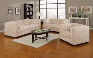 Coaster Alexis Button Tufted Chesterfield 2 PC Set in Almond