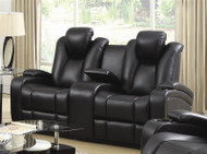 Coaster Delange Reclining Power Loveseat in Black
