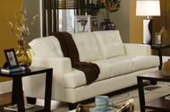 Coaster Samuel Samuel Contemporary Leather Sofa in Cream