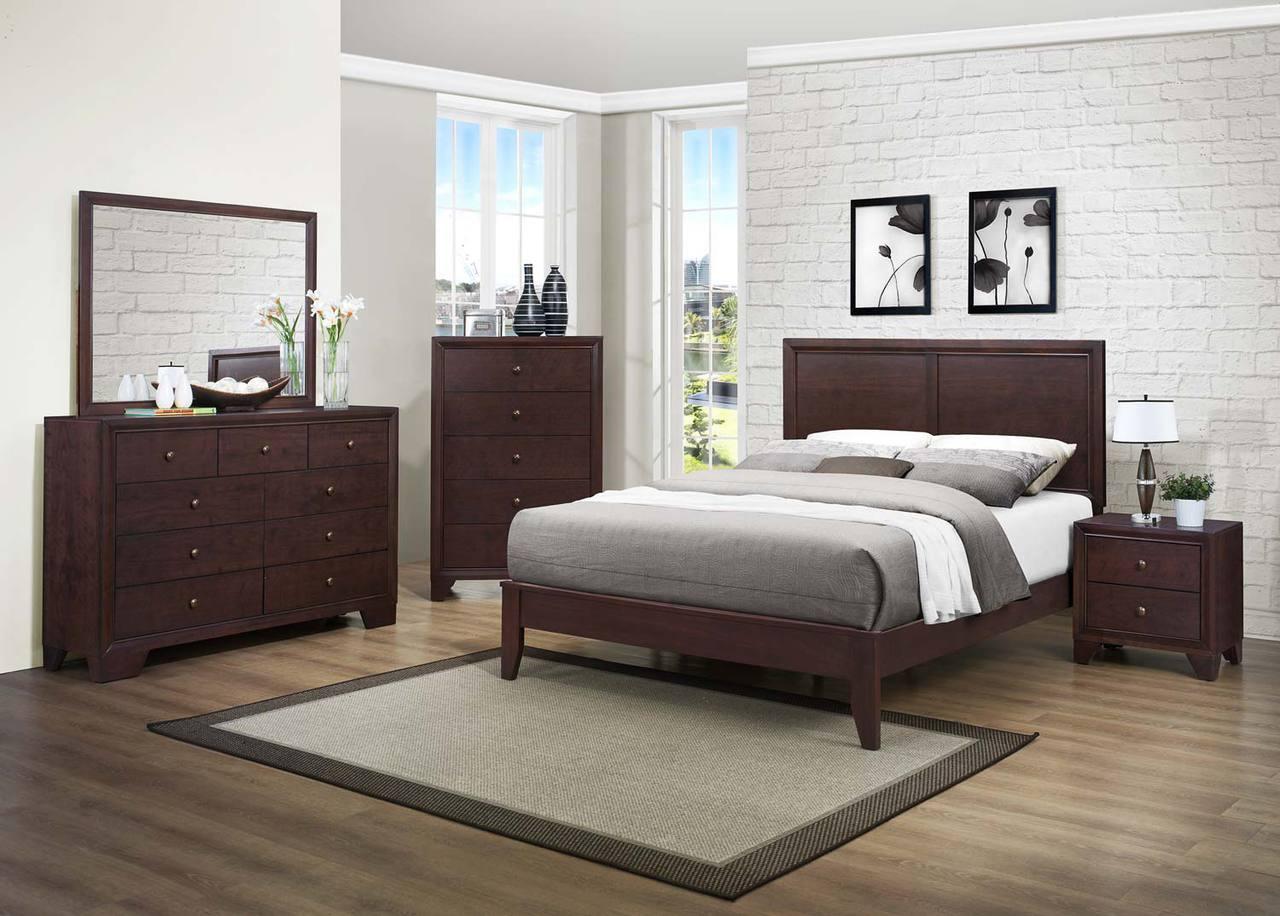 Homelegance kari 4 piece bedroom set in warm brown for Bedroom 4 piece set