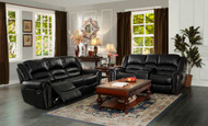 Homelegance Center Hill Black Double Reclining Sofa and Loveseat Set