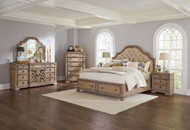 Coaster Ilana Collection Upholstered Storage 5 Piece Bedroom Set in Driftwood