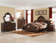 Coaster Abigail Collection 5-Piece Sleigh Bedroom Set in Deep Cherry