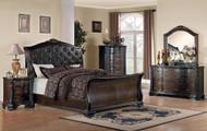 Coaster Maddison Collection 5-Piece Upholstered Sleigh Bedroom Set in Deep Cherry
