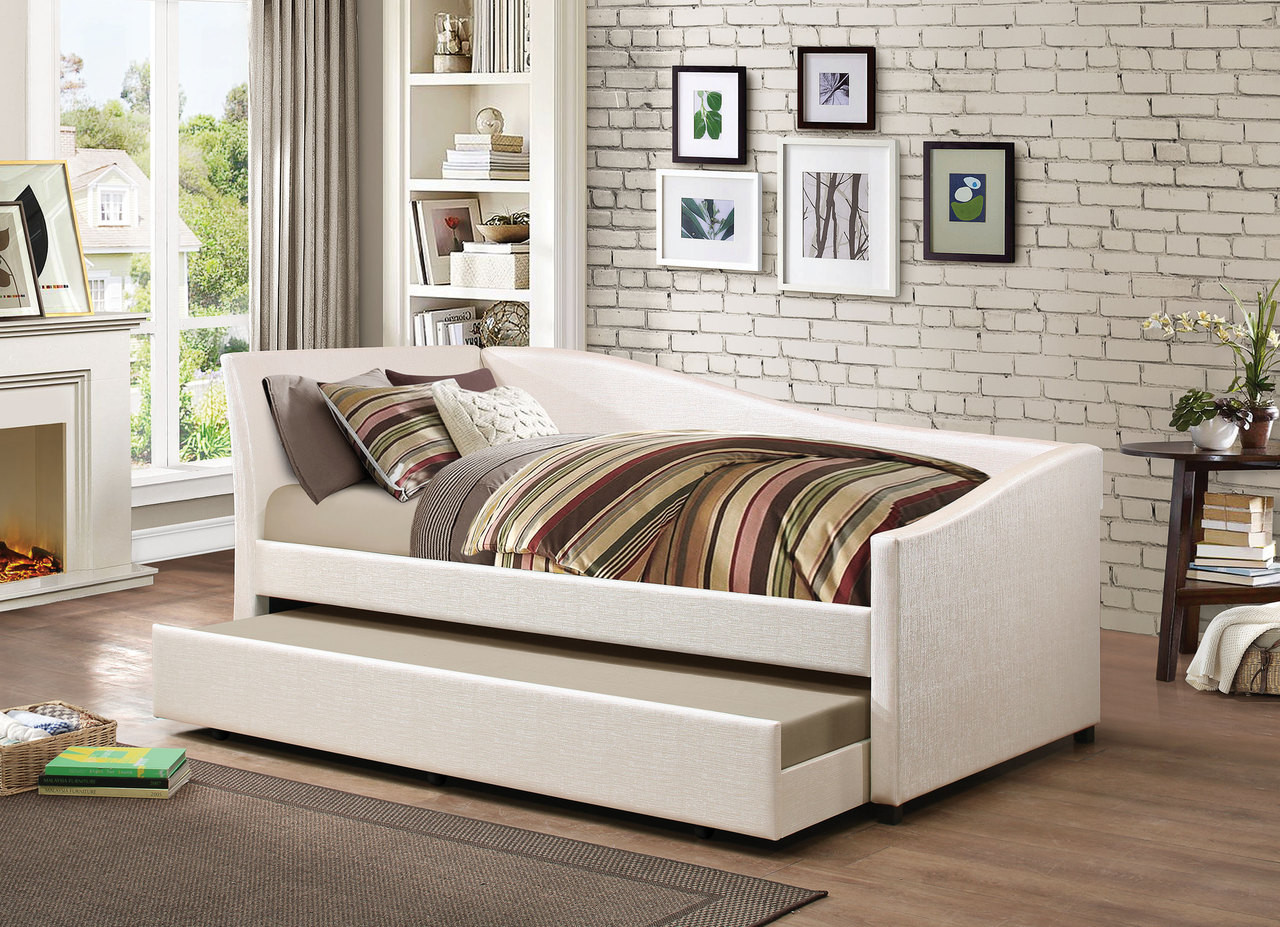Idealbed Le Vue Modern Upholstered Curved Daybed With Roll Out Trundle In Ivory