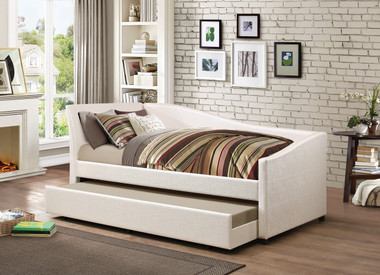 idealbed le vue modern upholstered curved daybed with rollout trundle in ivory