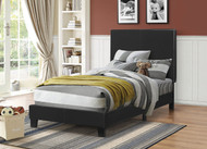 Coaster Mauve Faux Leather Upholstered Twin Platform Bed in Black