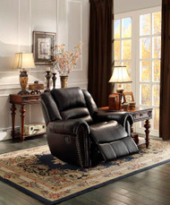 Homelegance Center HIll Glider Reclining Chair in Black Leather