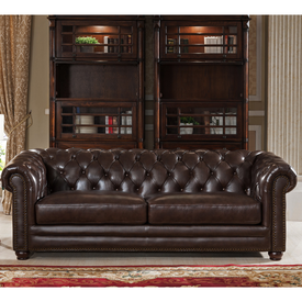 J Graham Parker Genuine Top Grain Leather Chesterfield Sofa