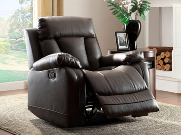 Homelegance Ackerman Collection Reclining Chair in Black Leather