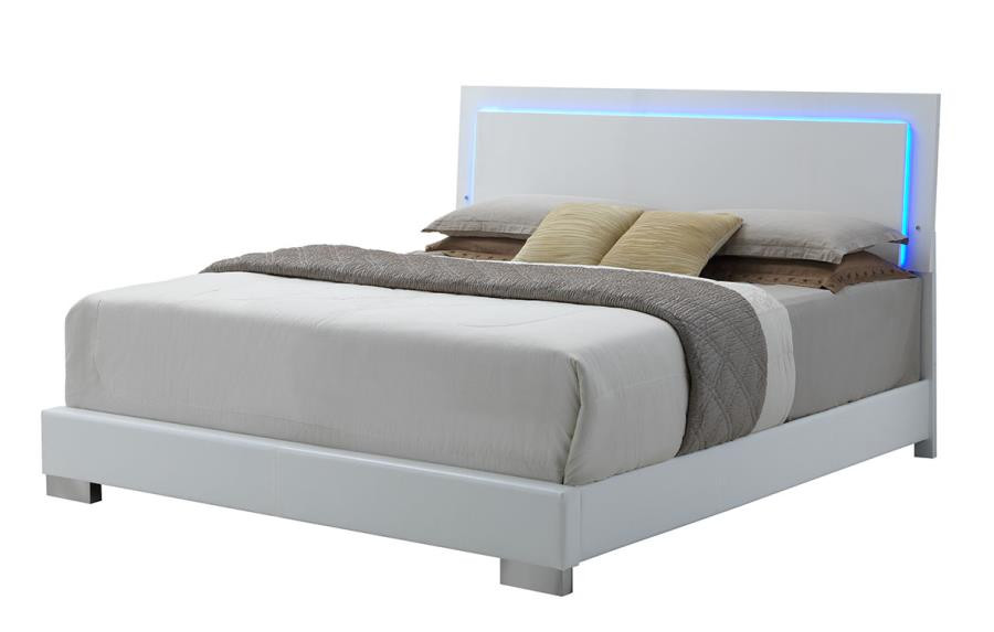 Coaster Felicity Bed With Led Lighting In Gloss White