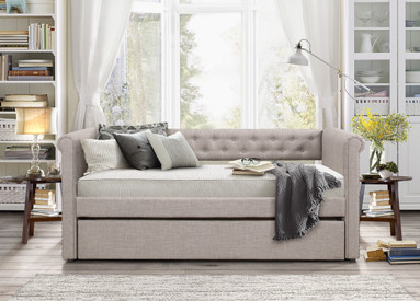 Upholstered Daybed idealbed st. francis tufted upholstered daybed in grey linen