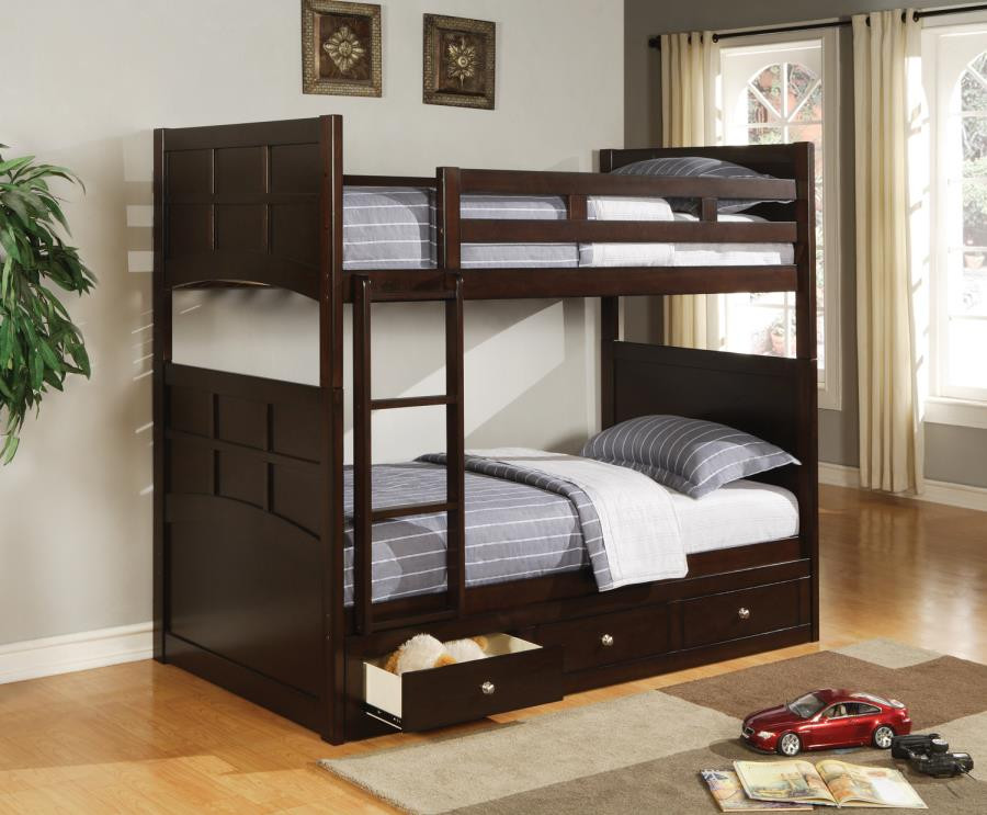 idealbed charles twin bunk bed in cappuccino