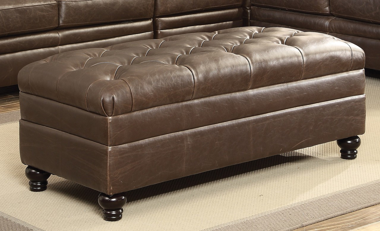 Coaster Roy Button Tufted Ottoman In Cappuccino Dealbeds Com