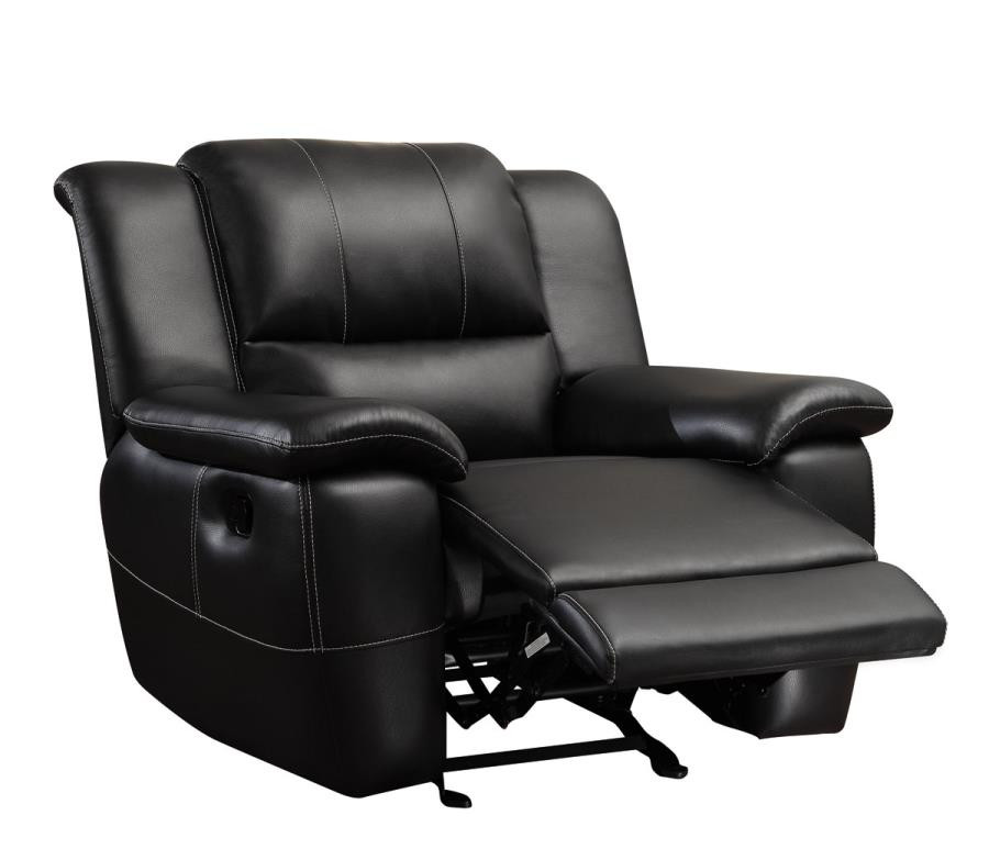 coaster lee transitional glider recliner in black