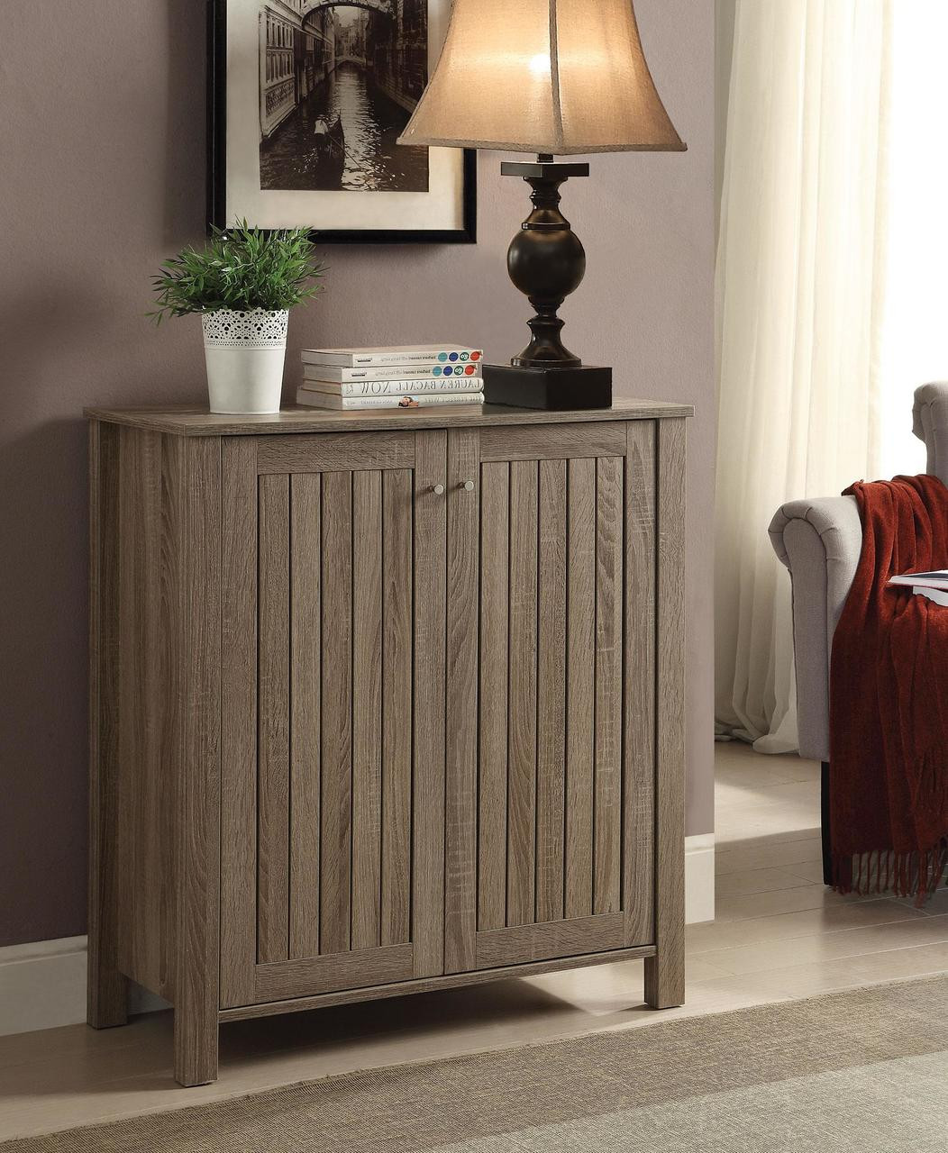 coaster ansley shoe cabinet in weathered gray