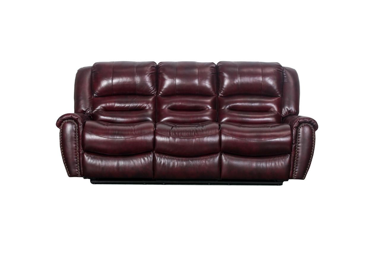 j  graham parker genuine top grain leather vineyard reclining sofa in maroon