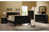 Coaster Louis Phillipe 5-Piece Sleigh Bedroom Set in Black