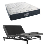 Simmons Beautyrest Silver Miller Plush Mattress with SmartMotion 1.0 Adjustable Bed Set