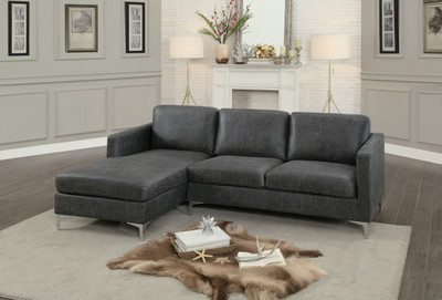 Homelegance Breaux Collection Sectional In Dark Grey