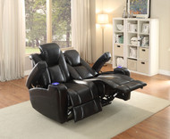 Homelegance Madoc Collection Reclining Loveseat in Black Reclined
